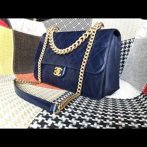 CHANEL Cosmopolite Straight Lined Large Flap Blue